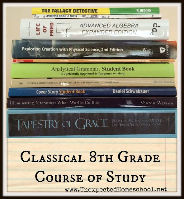 Unexpected Homeschool: Classical 8th Grade Course Outline for earning high school credits