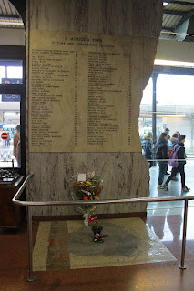 The memorial at Bologna Station to the victims of the 1980 bombing