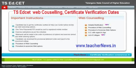 TS EdCET web Options Rank wise Dates 2018 | TS B.Ed Admission Counselling 2018 | Telangana EdCET 2018 Certificate verification Schedule