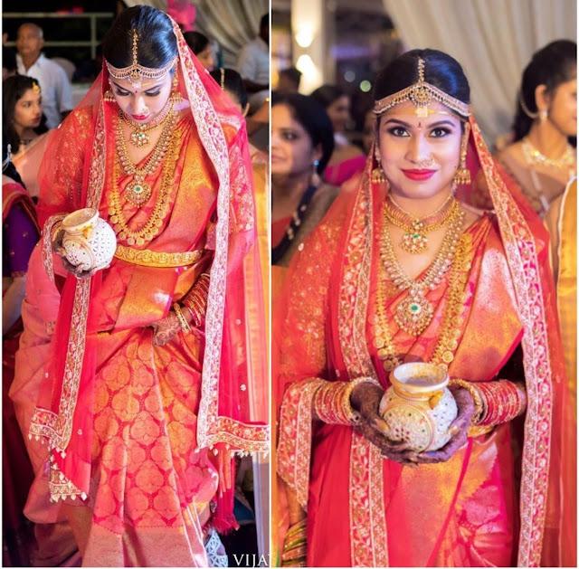 Bride in Ever Green Kasu Mala