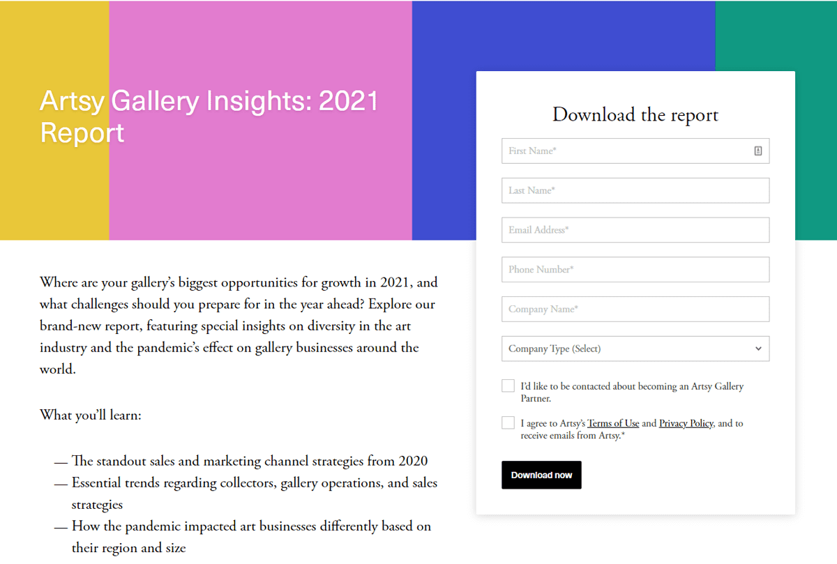 digital annual report example from Artsy Gallery
