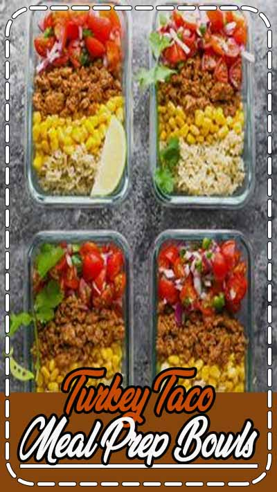 These turkey taco meal prep bowls are made with turkey taco meat, corn, pico de gallo and brown rice and are simple, but filling. Make them ahead for four delicious lunches. #video #sweetpeasandsaffron #turkey #mealprep #lunch #easylunch