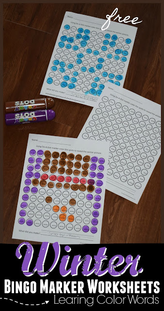 Winter Do a Dot Worksheets to learn color names