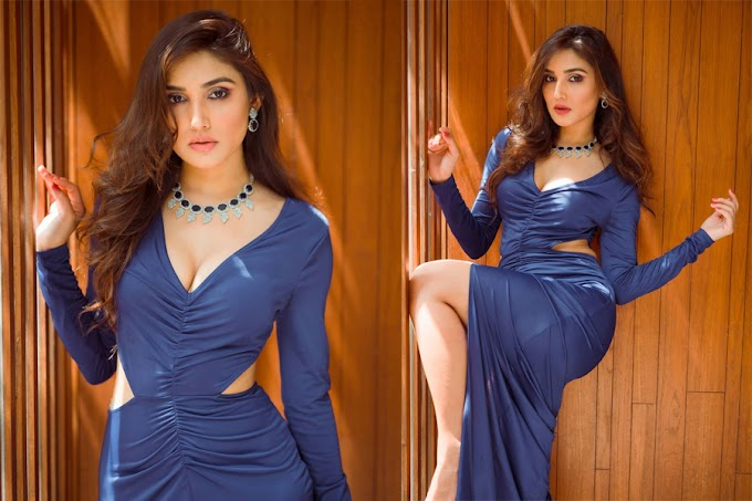 Donal Bisht Hot Photos in Blue Dress Pics