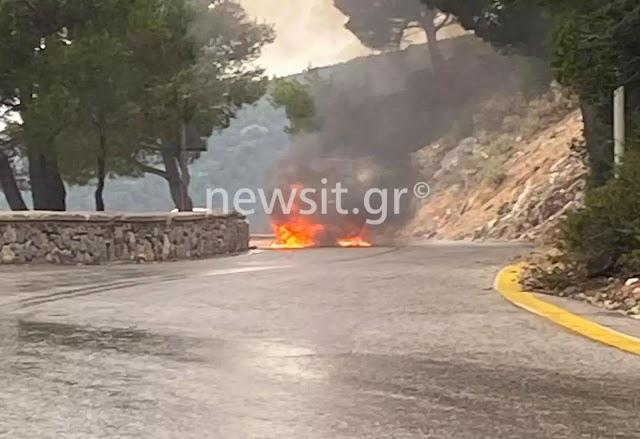 Πάρνηθα: Στρατιωτικό όχημα τυλίχθηκε στις φλόγες-Άμεση αντίδραση Πυροσβεστικής (BINTEO-ΦΩΤΟ)