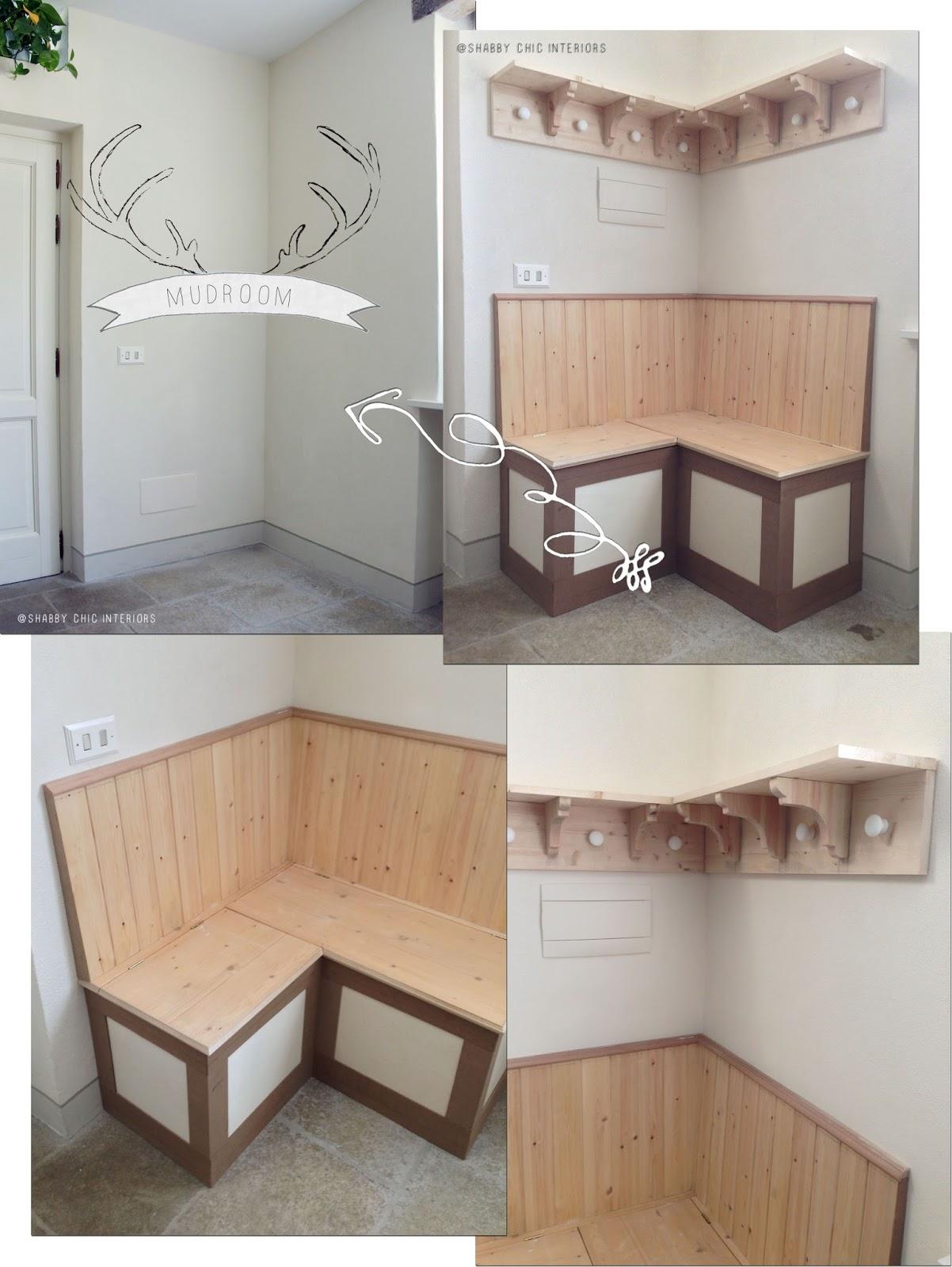 Ecco la mia mudroom shabby chic interiors for Costruire una cassapanca in legno
