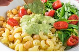 zero oil chickpeas pesto pasta salad