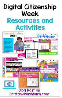 Digital Citizenship Week is in October and is a great opportunity to go over these topics with students. I have rounded up internet safety resources and activities to help with planning.