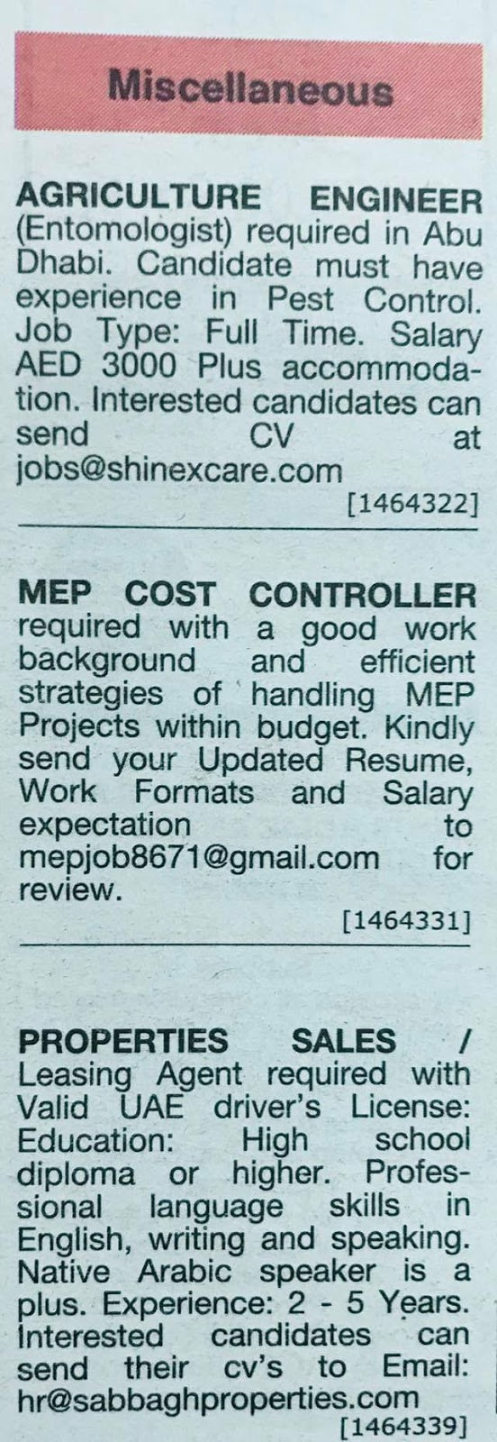 Required Agriculture engineer,mep cost controller, sales