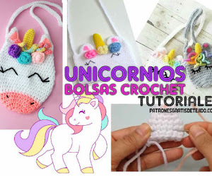 3 Bolsos Unicornio Crochet super fácil Tutorial