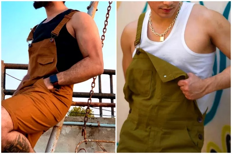 Men's dungarees/overalls fashion With tank-top.