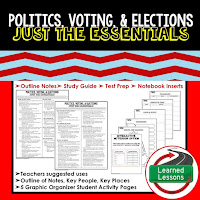 Politics, Voting, Elections Outline Notes, Civics Test Prep, Civics Test Review,Civics Study Guide, Civics Summer School Outline, Civics Unit Reviews, Civics Interactive Notebook Inserts