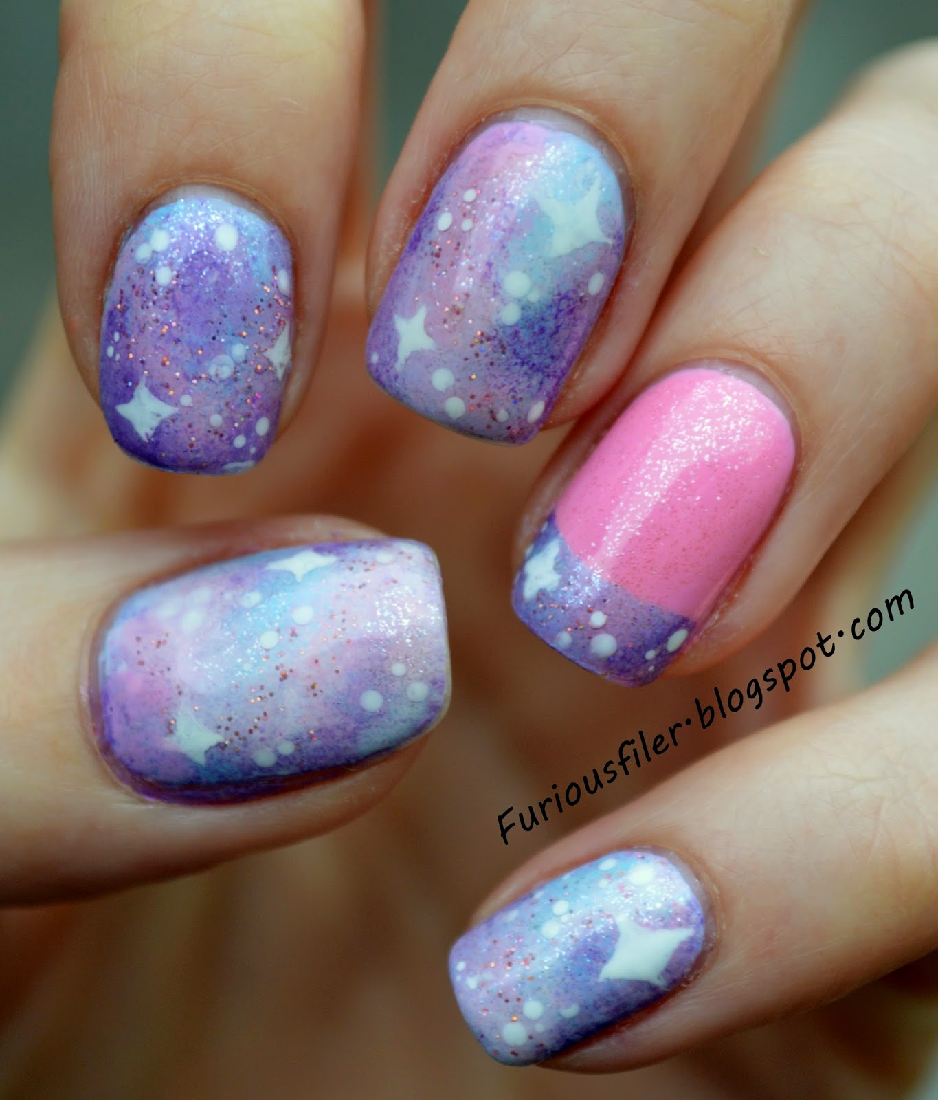 pink galaxy nails french tip