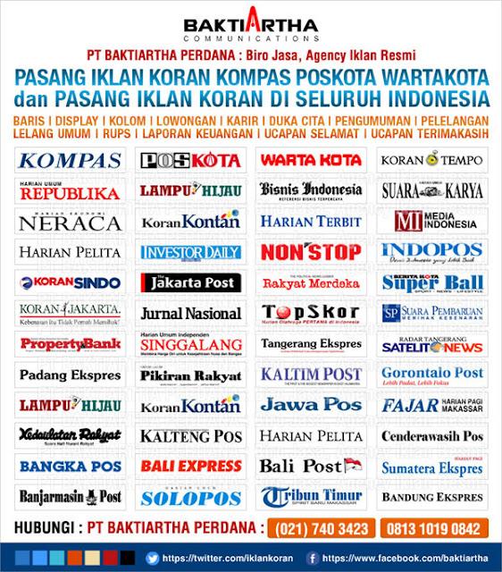 pasang iklan kompas poskota wartakota dan koran seluruh indonesia