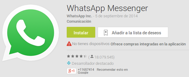 Aplicaciones Android de Play Store WhatsApp Messenger
