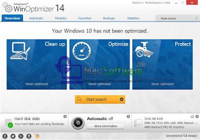 cara agar performa komputer maksimal, cara menjaga performa komputer, mengatasi komputer atau laptop lelet dengan Ashampoo WinOprimizer