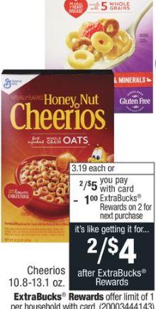 Cheerios Cereal - 2/$5.00.