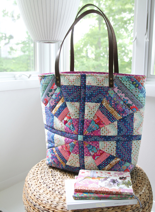 Carnival Pinwheels Tote Free Pattern Designed by Amy Butler for FreeSpirit, Featuring Soul Mate Collection