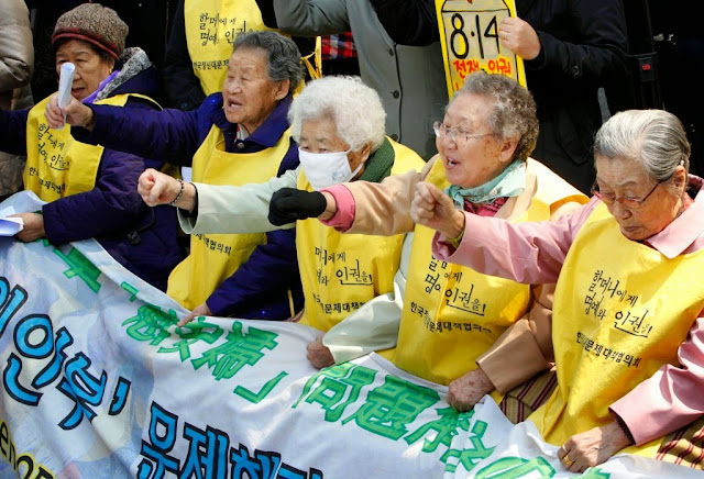 South Korean comfort women during an anti-Japan protest in front of the Japanese embassy in Seoul in March 30, 2011