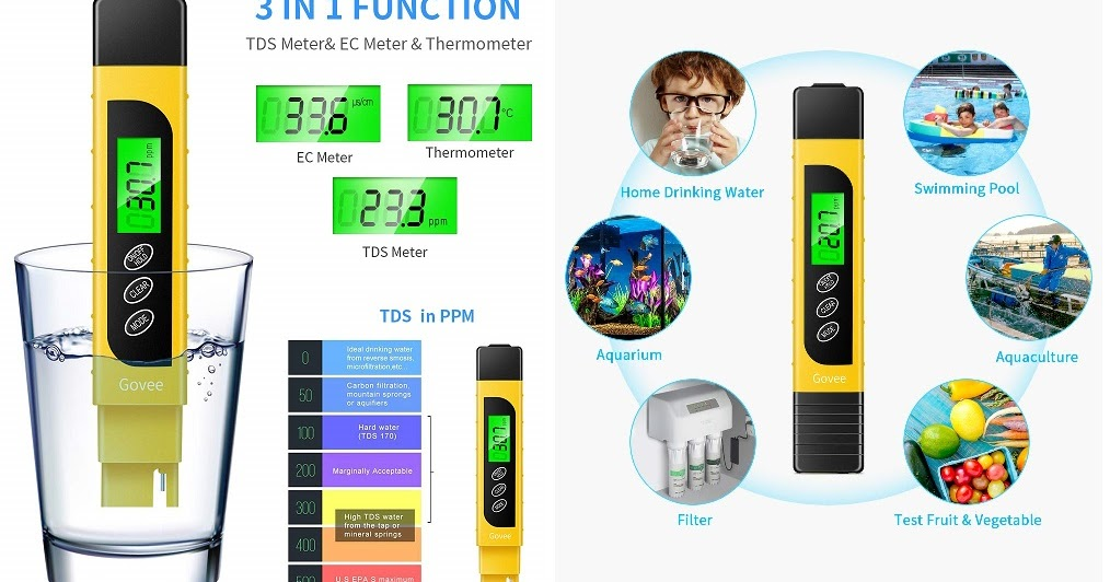 3 in 1 TDS Meter, Govee Accurate Water Quality Tester with