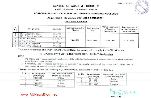 Anna University Academic Schedule UG & PG August to December 2021