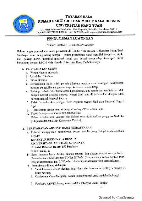 Info Syarat Loker kerja di Rumah Sakit Nala Husada Hang Tuah (RSGM)