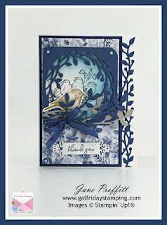 I have stuck to Whisper White and Misty Moonlight with a touch of Night of Navy card stock.  The Flowers for Every Season dsp is also a favorite and it is perfect for these stamp sets.