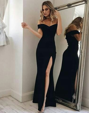 Prom off shoulder black long Dress