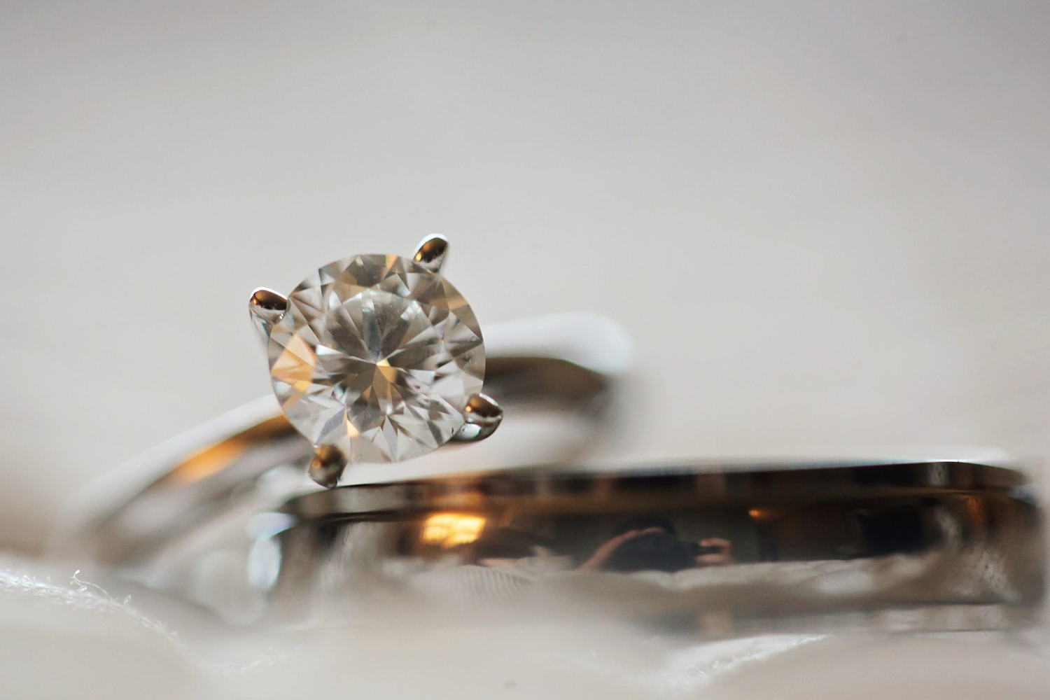 a close up picture of a diamond ring with an old european cut diamond