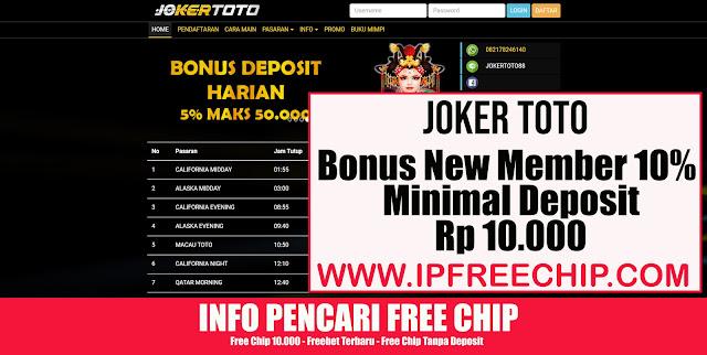 JOKERTOTO Bonus New Member 10 %