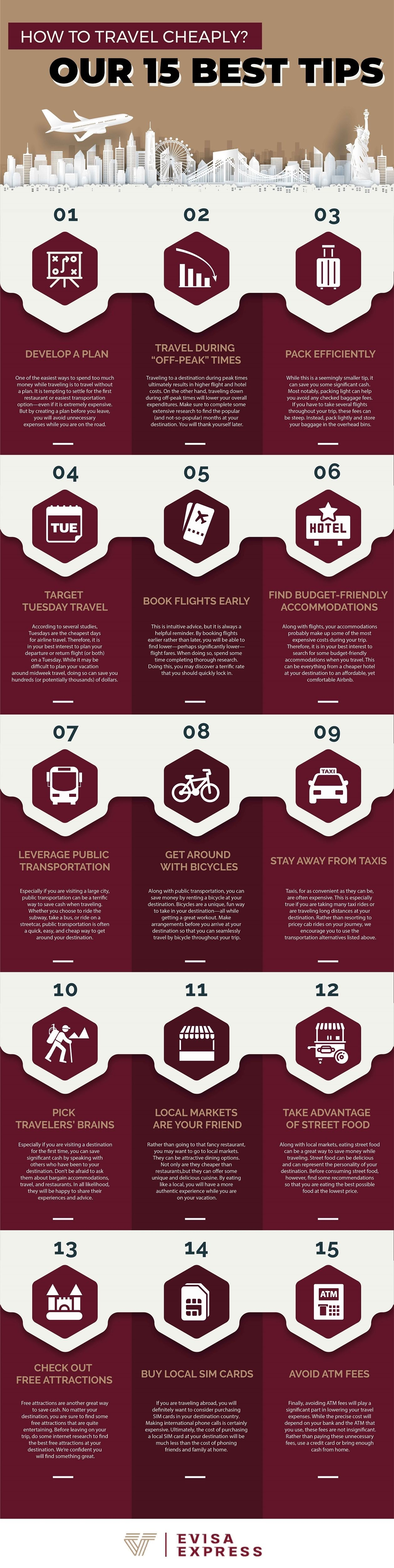 How to Travel Cheap? Our 15 Best Tips #infographic