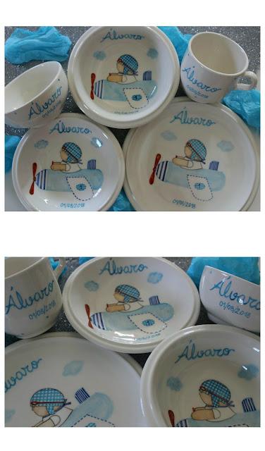 Vajillas infantiles de cerámica pintadas a mano y personalizadas