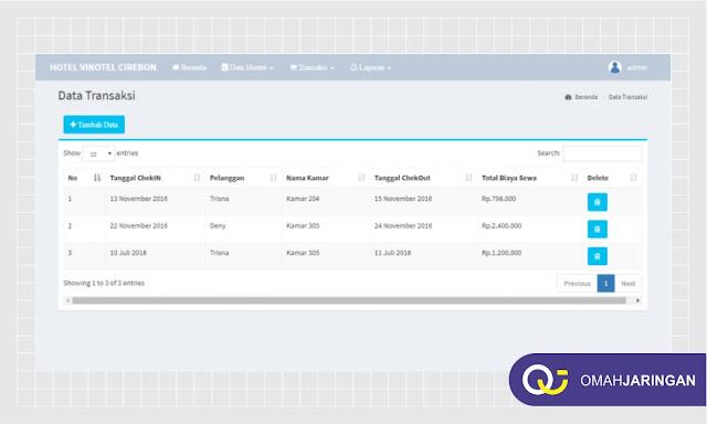 Halaman Data Transaksi Aplikasi Pemesanan Kamar Hotel Sederhana Dengan PHP Gratis Download