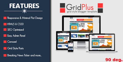 Grid Plus - Grid Style Responsive Free Blogger Templates