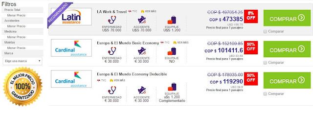 Seguros de viaje baratos para Europa desde Colombia
