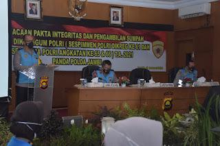 Kapolda Jambi Pimpin Pengambilan Sumpah, Penandatanganan pakta integritas  Dan Seleksi Dikbangum Sespimmen.