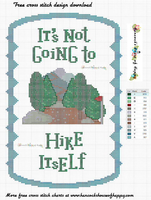 Motivation Monday! Free Hiking Cross Stitch Pattern to Download #crossstitch #xstitch, free cross stitch pattern, free cross stitch design, free cross stitch designs to download, free cross stitch patterns to download, downloadable free cross stitch patterns, darmowy wzór haftu krzyżykowego, フリークロスステッチパターン, grátis padrão de ponto cruz, gratuito design de ponto de cruz, motif de point de croix gratuit, gratis kruissteek patroon, hiking cross stitch pattern, walking cross stitch pattern, free motivational cross stitch, fitness motivation cross stitch, fitness motivation, free hiking cross stitch design