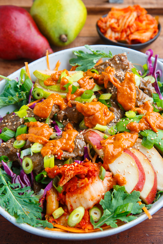 Korean Bulgogi and Pear Kale Salad