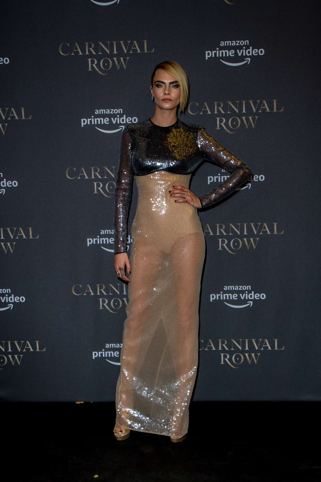 Cara Delevingne dazzles in sheer dress at the Carnival Row premiere in Berlin