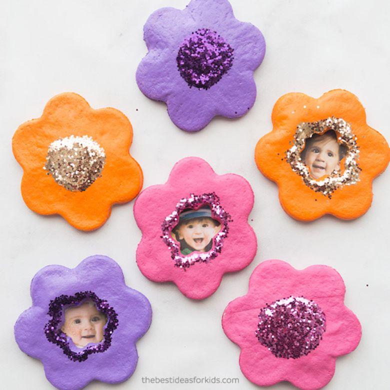 Salt dough ideas - flower photo magnet craft