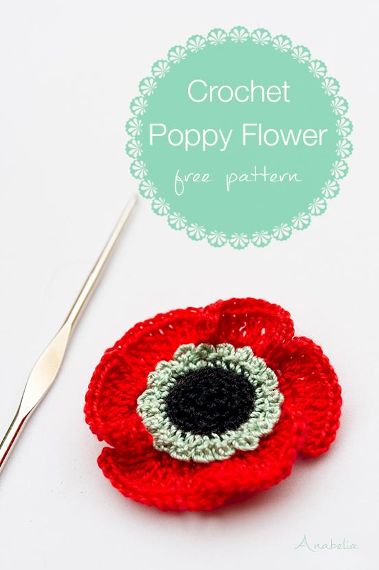 Crochet poppy flower, free pattern by Anabelia Craft Design