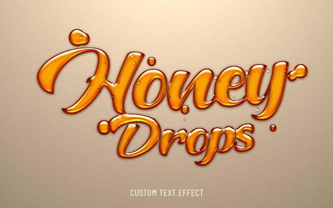Honey Drops Liquid PSD Text Effect