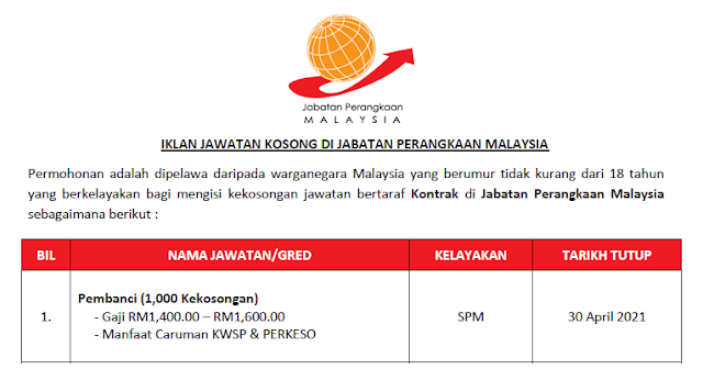 jawatan kosong pembanci jabatan perangkaan malaysia