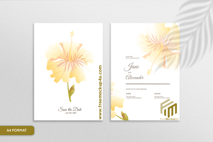 Double Sided Floral Wedding Invitation With Yellow Flower White Background