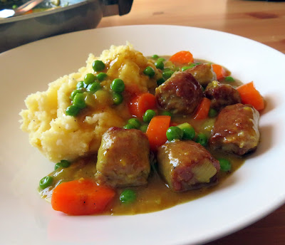 School Dinner Curried Sausages