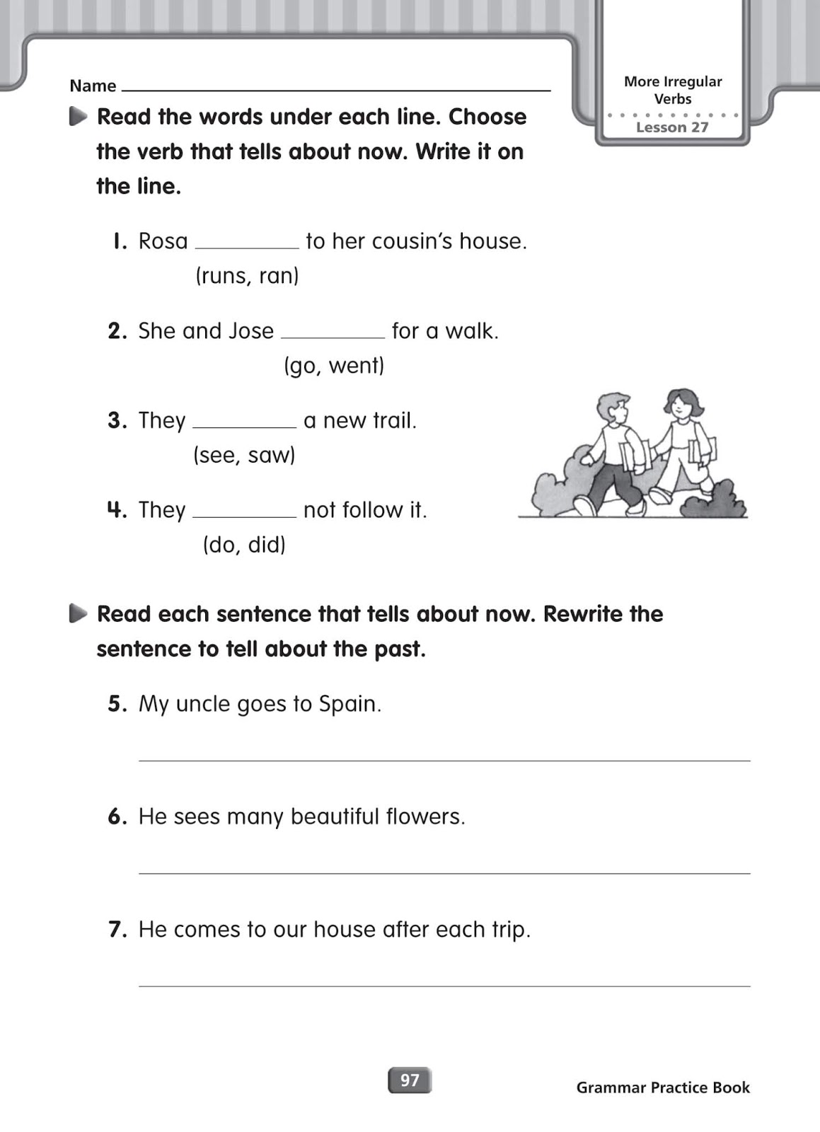 Grammar Worksheets Irregular Verbs