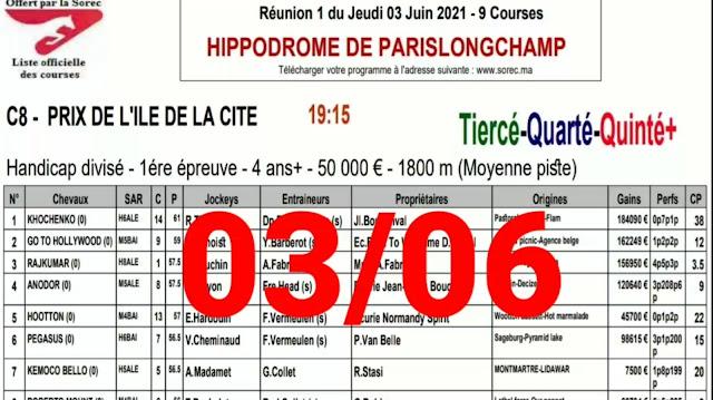 quinté Pronostic quinté+ jeudi 03/06/2021