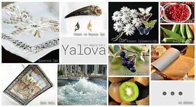 Yalova'nın meşhur şeylerini gösteren resimlerden oluşan kolaj