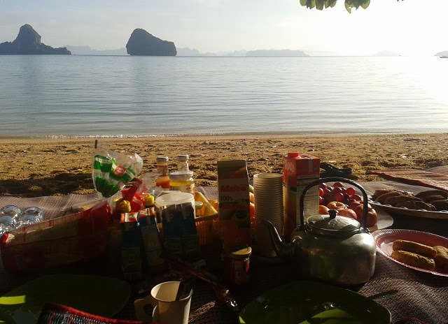 Picnic Breakfast on the beach in Phang Nga Bay