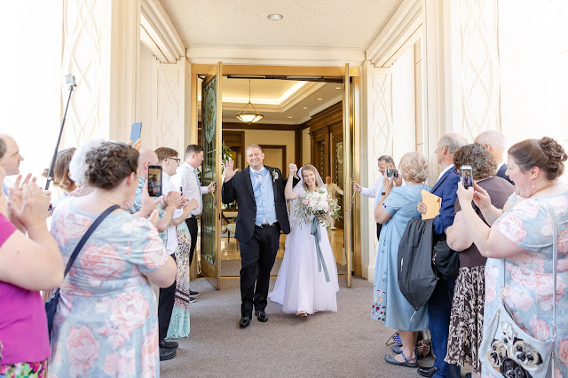 Bride and Groom Exit From Gilbert AZ Temple